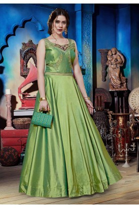 Green Colour Silk Readymade Gown.