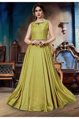 Pista Green Colour Designer Gown.