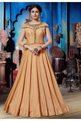 Peach Colour Designer Gown.