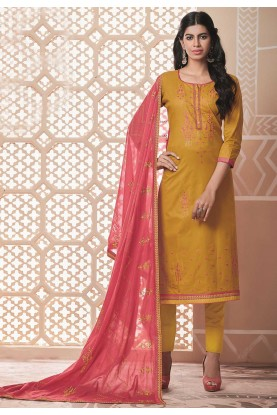 Yellow Colour Casual Salwar Suit.