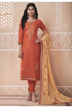Coral Colour Cotton Salwar Suit.