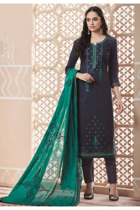 Navy Blue Colour Cotton Salwar Suit.