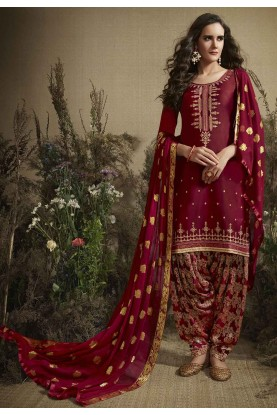 Designer Patiala Salwar Suit in Maroon Colour.