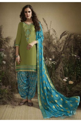 Green Colour Patiala Salwar Suit.