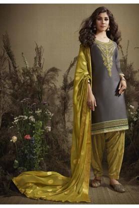 Grey Colour Cotton Salwar Kameez.