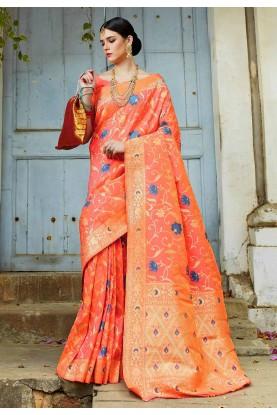 Peach Colour Silk Weaving Saree.