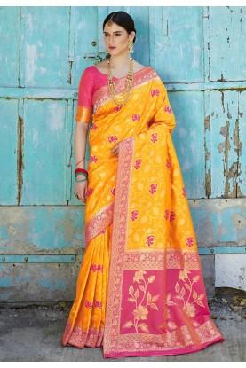 Yellow Colour Silk Traditional Saree.