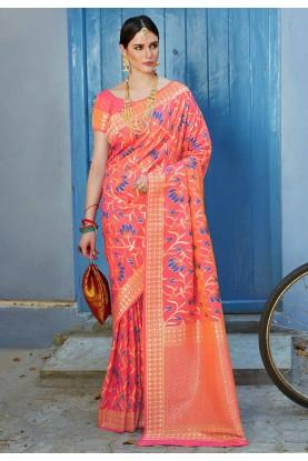 Peach Colour Printed Saree.