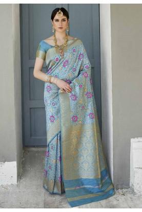 Blue Colour Silk Sari.