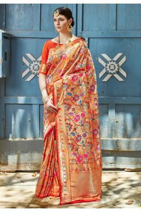 Multi Colour Silk Weaving Sari.