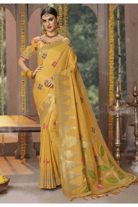 Yellow Colour Banarasi Silk Designer Saree.