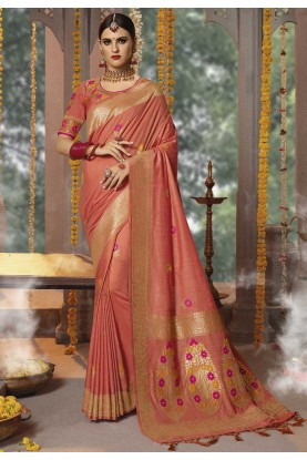 Peach Colour Designer Saree.