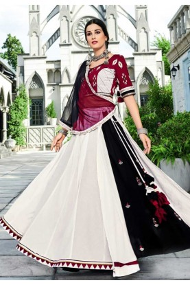 Off White,Black Colour Printed Lehenga Choli.