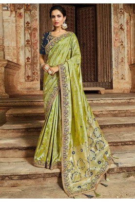 Green Colour Indian Silk Saree.