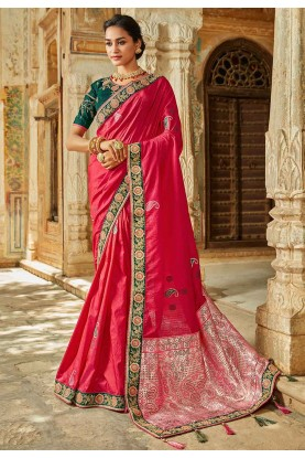 Designer Indian Saree in Pink Colour.
