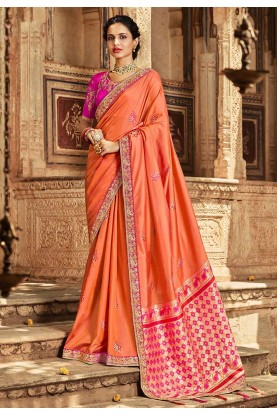 Peach Colour Banarasi Silk Saree.
