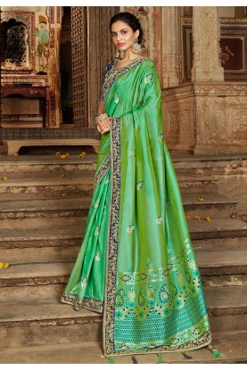 Indian Traditional Saree in Green Colour.