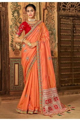 Orange Colour Banarasi Silk Saree.