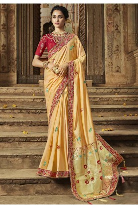 Cream Colour Indian Designer Saree.