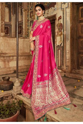 Party Wear Saree in Pink Colour.