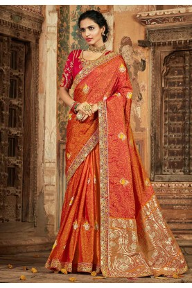 Orange Colour Indian Designer Saree.