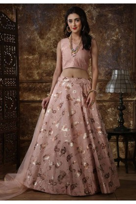 Designer Lehenga Choli in Peach Colour.