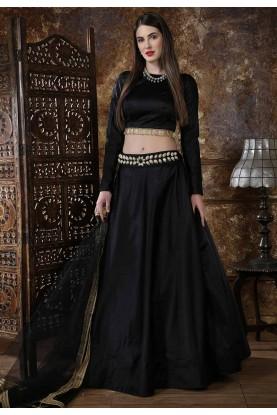 Black Colour Party Wear Lehenga.