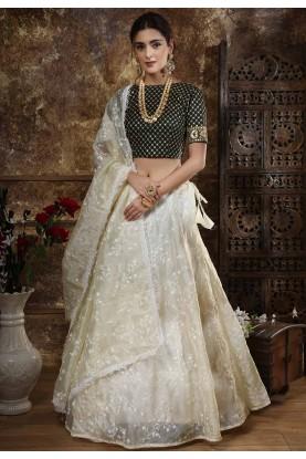 Off White Colour Indian Designer Lehenga Choli.