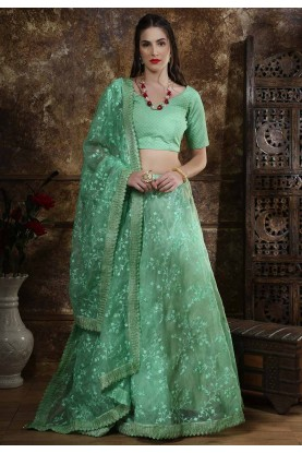 Green Colour Embroidery Lehenga Choli.