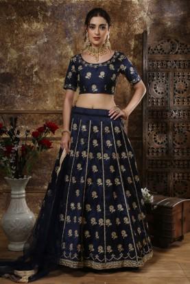 Blue Colour Wedding Lehenga.