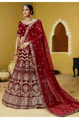 Red,Maroon Colour Designer Bridal Lehenga Choli.