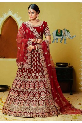 Indian Wedding Lehenga Choli Red,Maroon Colour.