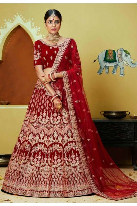 Red,Maroon Colour Wedding Lehenga Choli.