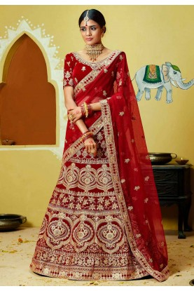 Red,Maroon Colour Bridal Lehenga Choli.