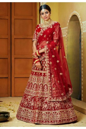Red,Maroon Colour Velvet Lehenga Choli.