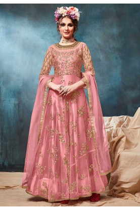 Pink Colour Designer Long Salwar Suit.