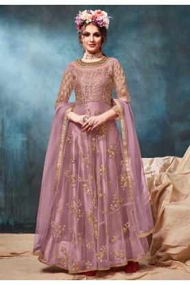 Purple Colour Anarkali Salwar Suit.