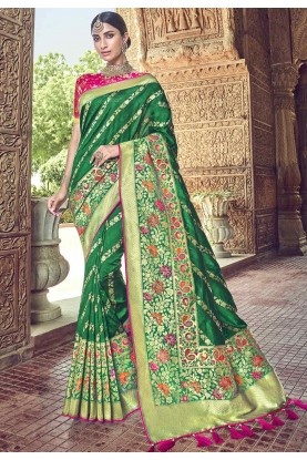 Green Colour Designer Saree.