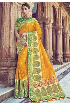 Traditional Saree Yellow Colour.