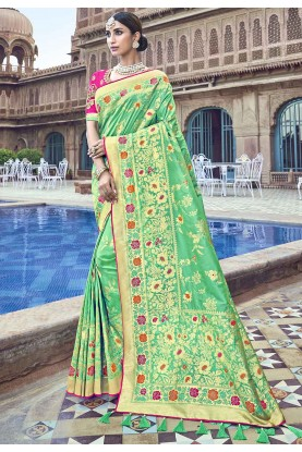 Green Colour Weaving Saree.