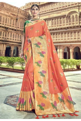 Peach Colour Printed Saree.