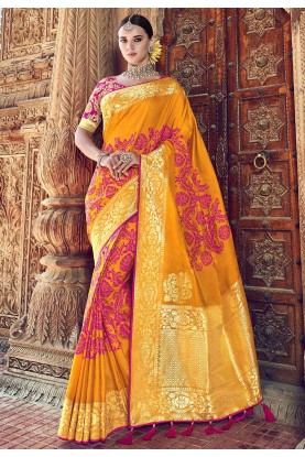 Yellow Colour Indian Designer Saree.