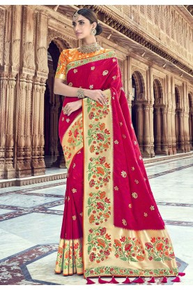 Pink Colour Indian Wedding Sari.