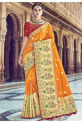 Orange Colour Indian Saree.