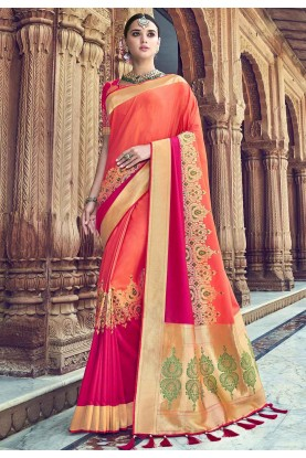 Peach Colour Printed Sari.