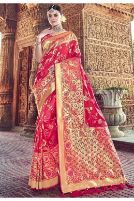 Pink Colour Wedding Saree.