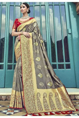 Grey,Golden Colour Silk Saree.