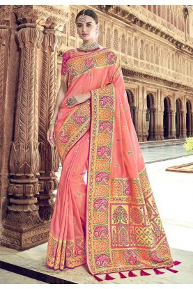 Peach Colour Indian Traditional Saree.