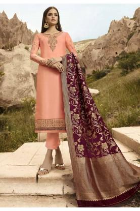 Peach Colour Party Wear Salwar Suit.