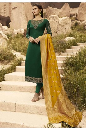 Green Colour Georgette Salwar Kameez.